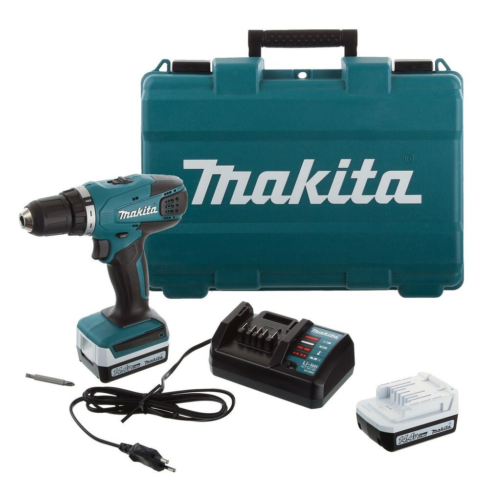 makita df347dwe akku bohrschrauber bohrmaschine 2x batterien mit koffer 14v ebay. Black Bedroom Furniture Sets. Home Design Ideas