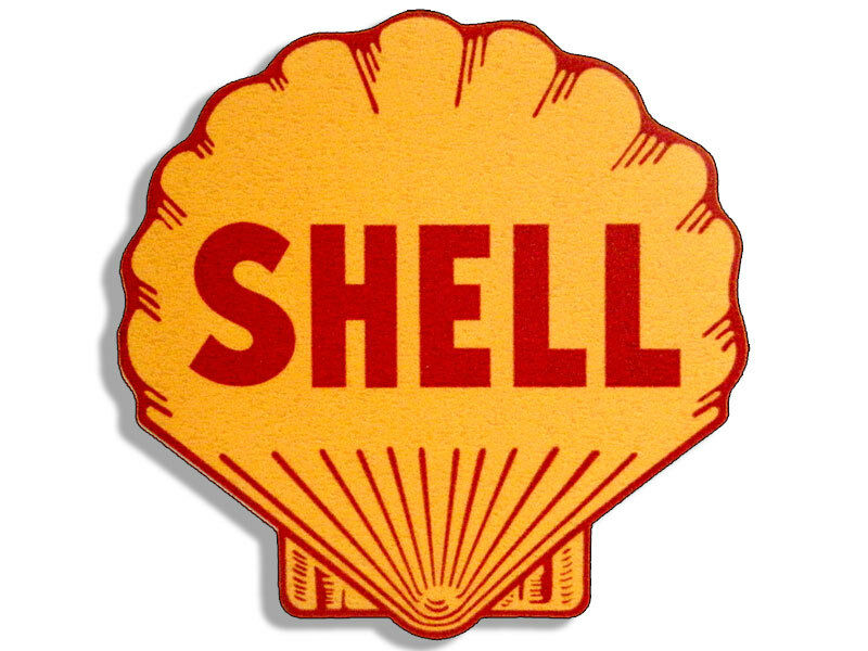 4x4 inch vintage shell logo shaped sticker gas sign