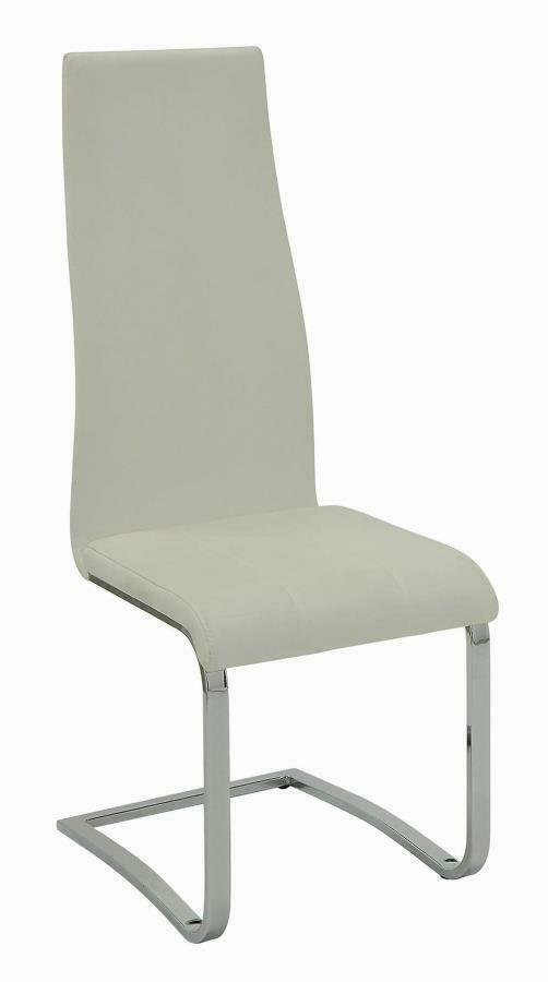 White Faux Leather Dining Chairs W Chrome Legs By Coaster 100515wht
