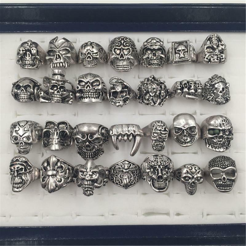 Wholesale 50pcs gothic big skull ring man stainless steel for Biker jewelry stainless steel
