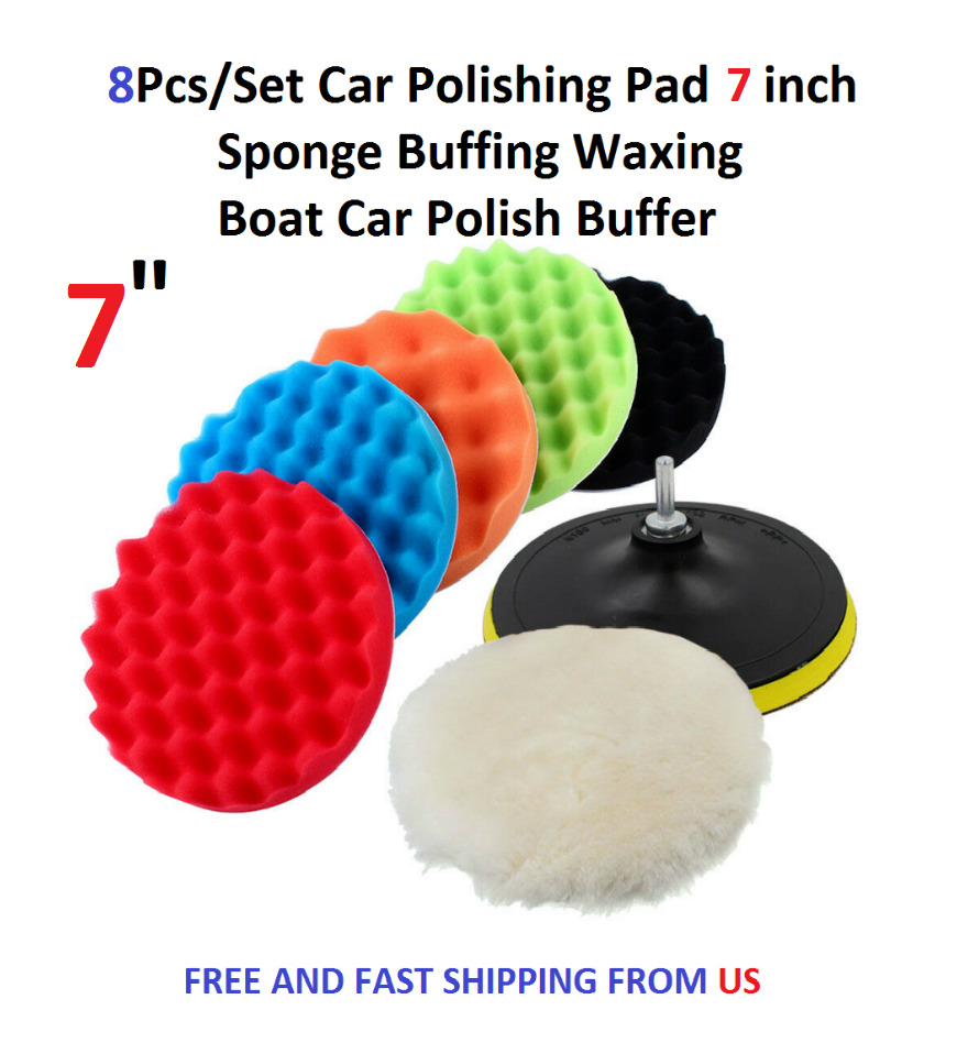 5pcs 6 Inch Waffle Polishing Foam Buffing Pad Set For Car