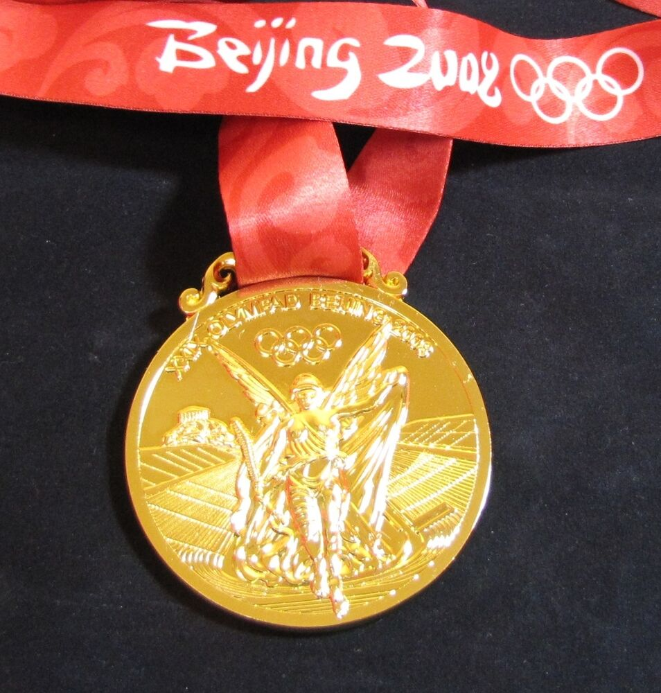 gold medal 2008 beijing olympics with silk ribbon