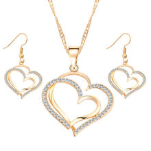 Women Silver Gold Austrian White Crystal Heart Necklace Earring Jewelry Gift Set