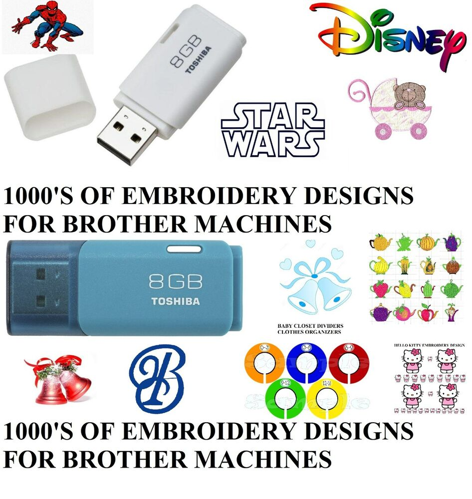 Embroidery designs on usb pes format brother