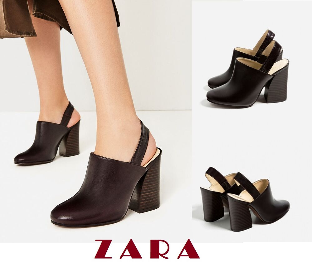 71a8c2550ec Details about ZARA Cow Leather Slingback High Heel Shoes US Sizes  6.5