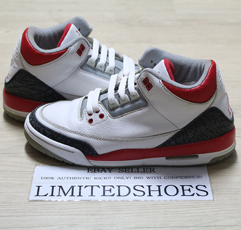 0110a91200d4 Details about 2006 NIKE AIR JORDAN 3 III RETRO GS FIRE RED 834014-161 US  5.5Y true blue bhm og