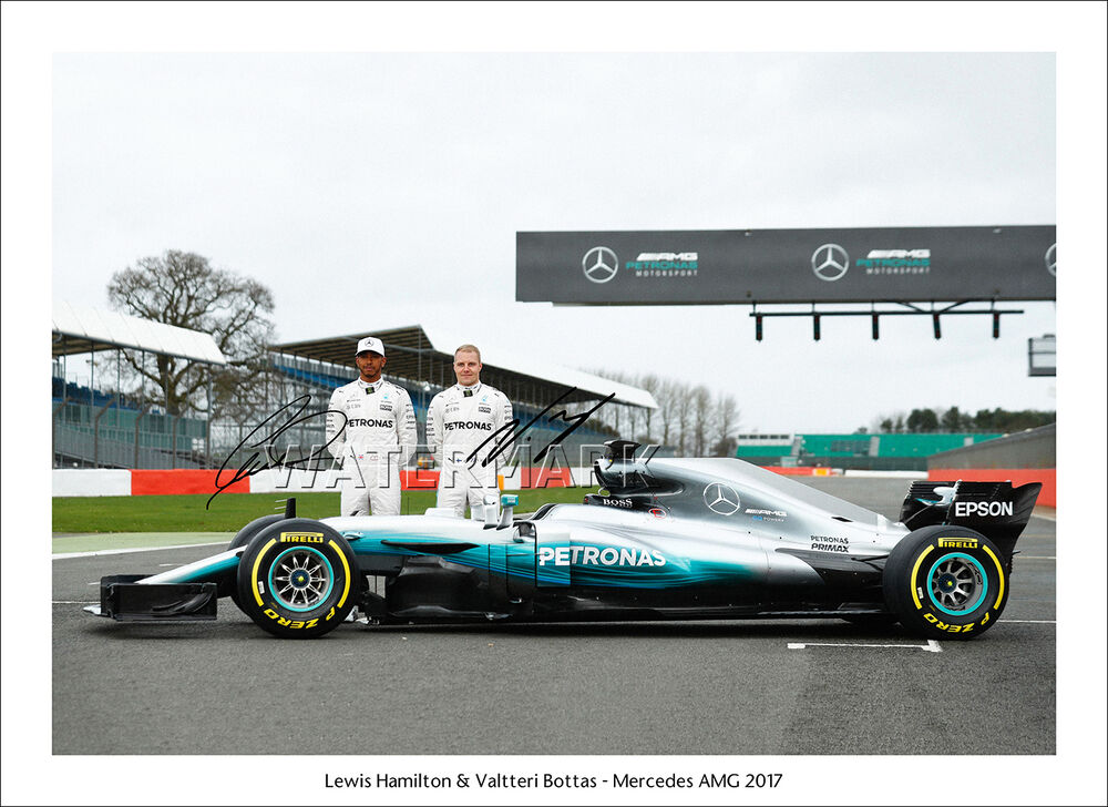 Lewis hamilton signed poster print photo framed bottas for Mercedes benz wall posters