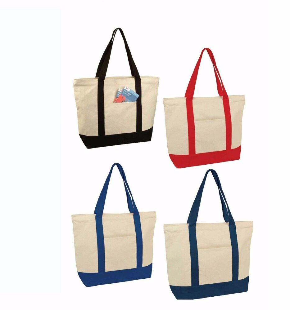 LARGE Zippered Canvas Reusable Grocery Shopping Bag Boat ...