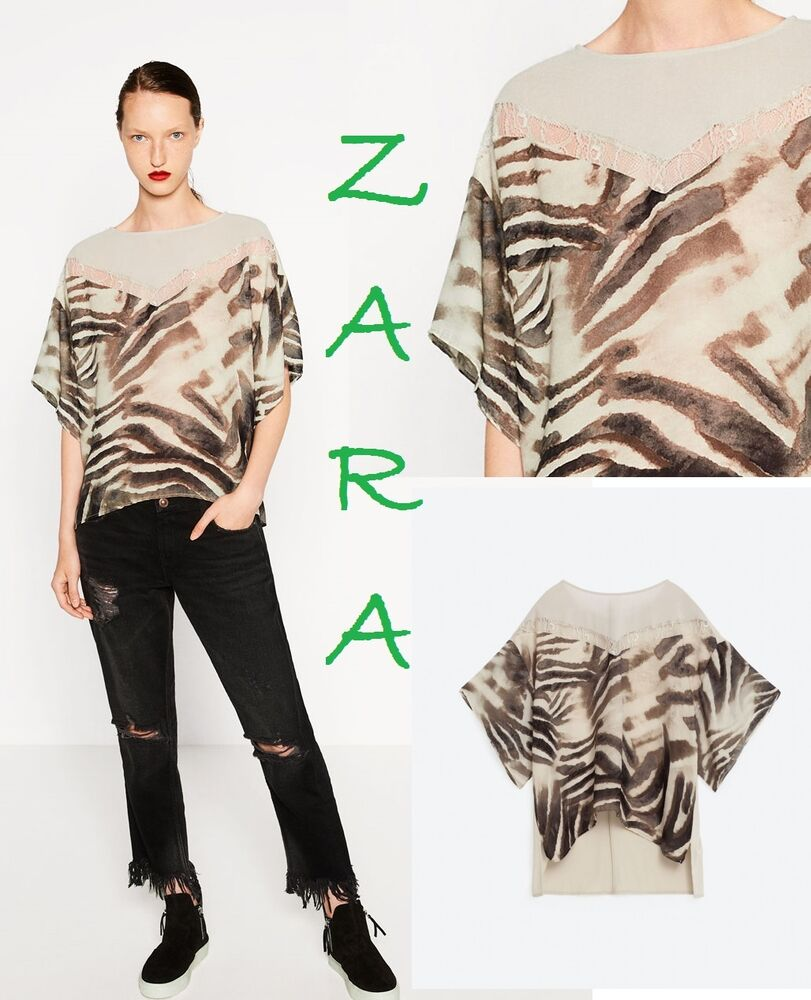 6ae7999f6d945 Details about ZARA Printed Pattern T-Shirt Short Sleeve Blouse Lace Trim  New Top Size L XL XXL