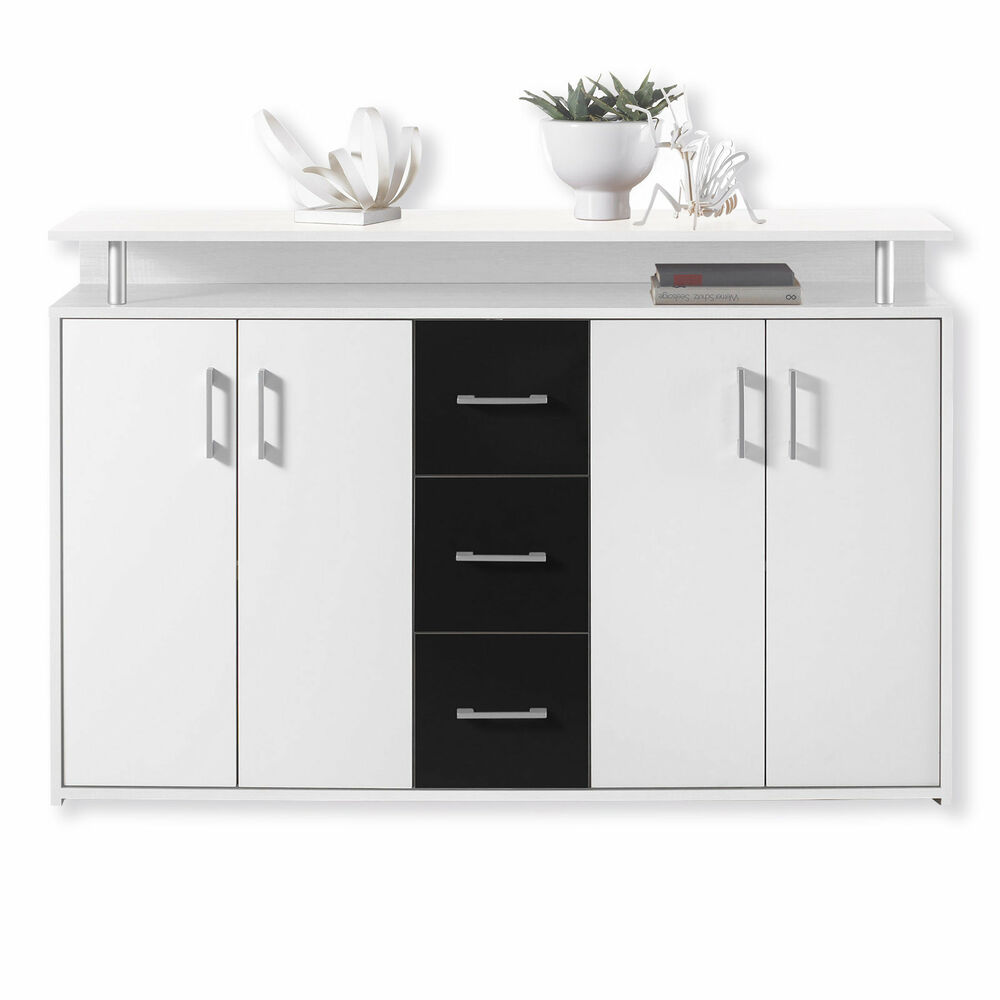 roller sideboard drift schwarz wei 139 cm ebay. Black Bedroom Furniture Sets. Home Design Ideas