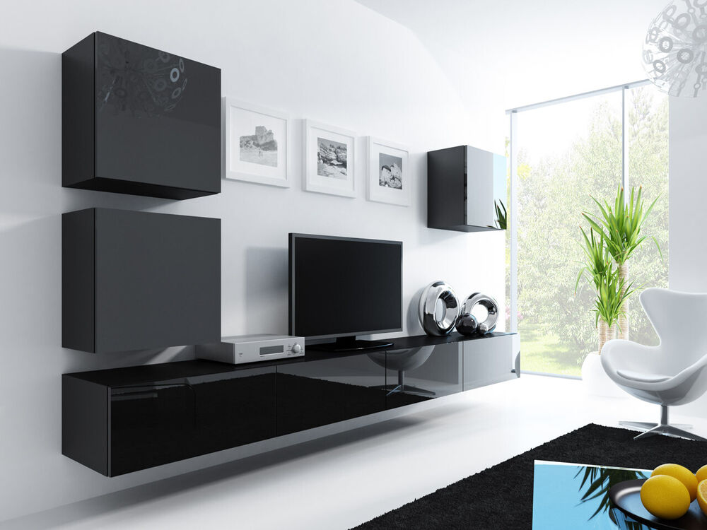 wohnwand lucas 22 tv lowboard tv schrank h ngwand h ngend hochglanz vitrine ebay. Black Bedroom Furniture Sets. Home Design Ideas