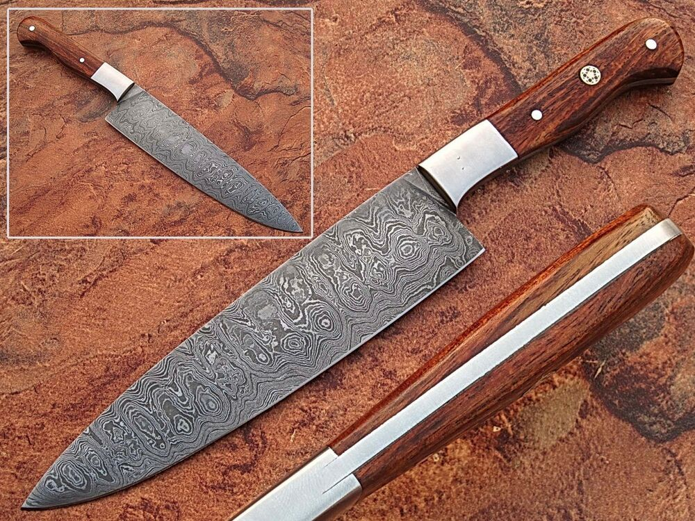 handmade chef knife kitchen cutlery cooking damascus steel chef wood handle 1095 ebay. Black Bedroom Furniture Sets. Home Design Ideas