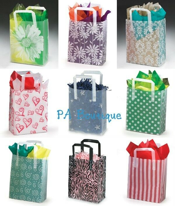 u choose 10x8x4 medium clear frosted plastic tote retail wedding gift bags ebay. Black Bedroom Furniture Sets. Home Design Ideas