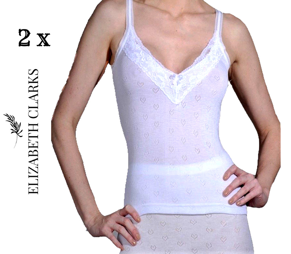 2 X LADIES WHITE FRENCH NECK SPENCER LACE THERMAL ...