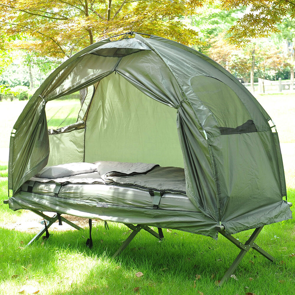 outdoor one person folding dome tent hiking camping bed cot w sleeping bag new ebay. Black Bedroom Furniture Sets. Home Design Ideas