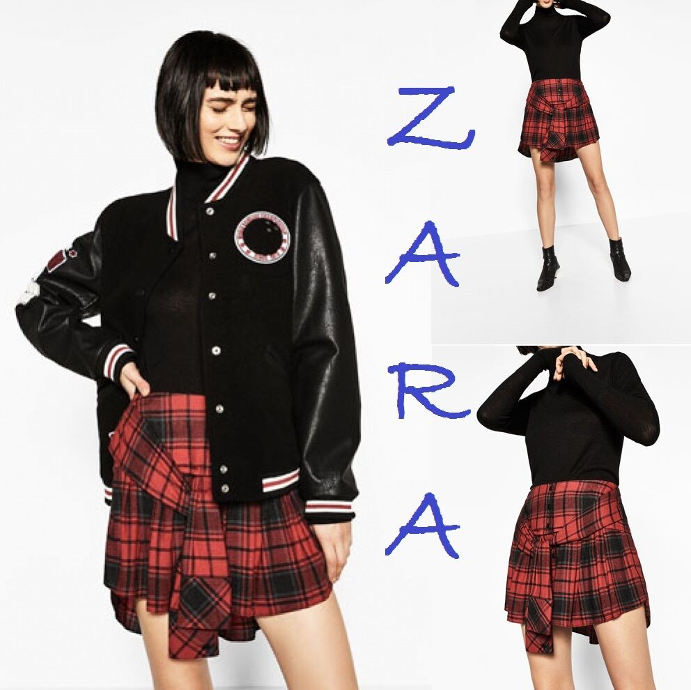d5084c29a3 Details about ZARA Tie-Up Mini Skirt Hi-Lo Ruffle Hem Red/Black Check New  Skirt Sizes XS; S; M