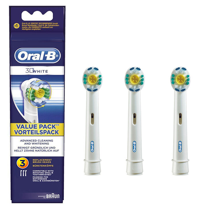 3 Braun Oral B 3D White Pro Bright Electric TOOTHBRUSH HEADS EB18-3 | eBay