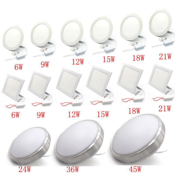 Dimmable 6W9W12W15W18W21W24W36W45W LED Mounted Recessed Ceiling Panel Down Light