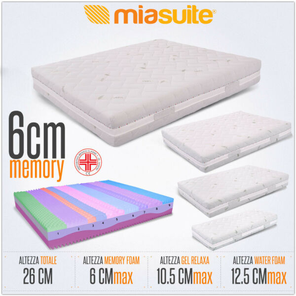 MATERASSO MEMORY SFODERABILE H26 CM 3 STRATI PRIME MEMORY FOAM + GEL + WATERFOAM