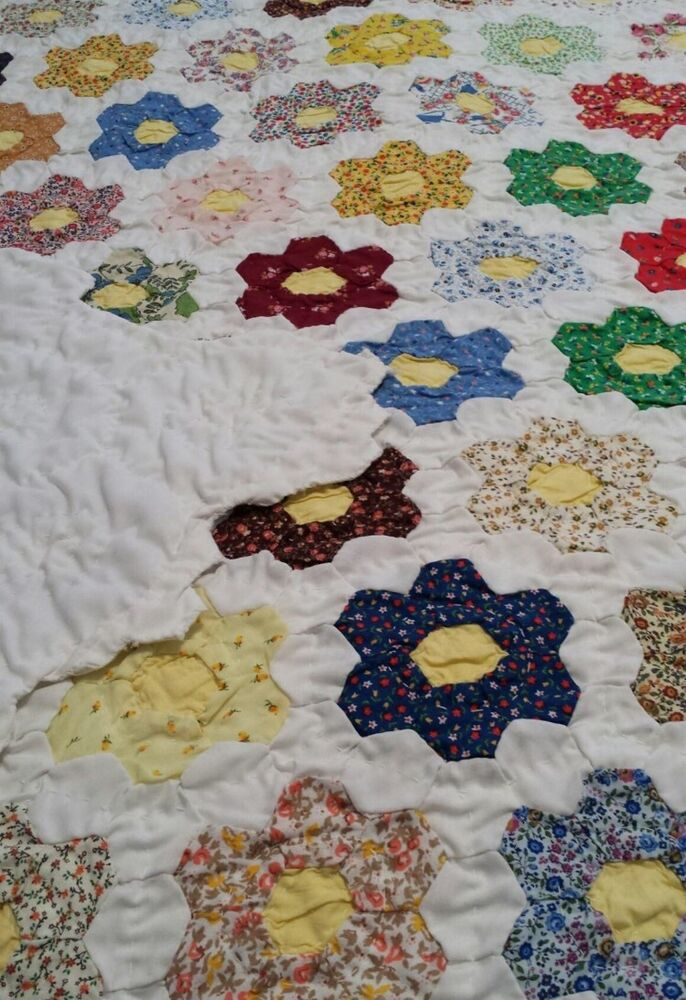 Antique Hexagon Quilt Early 1900 S Era Ebay