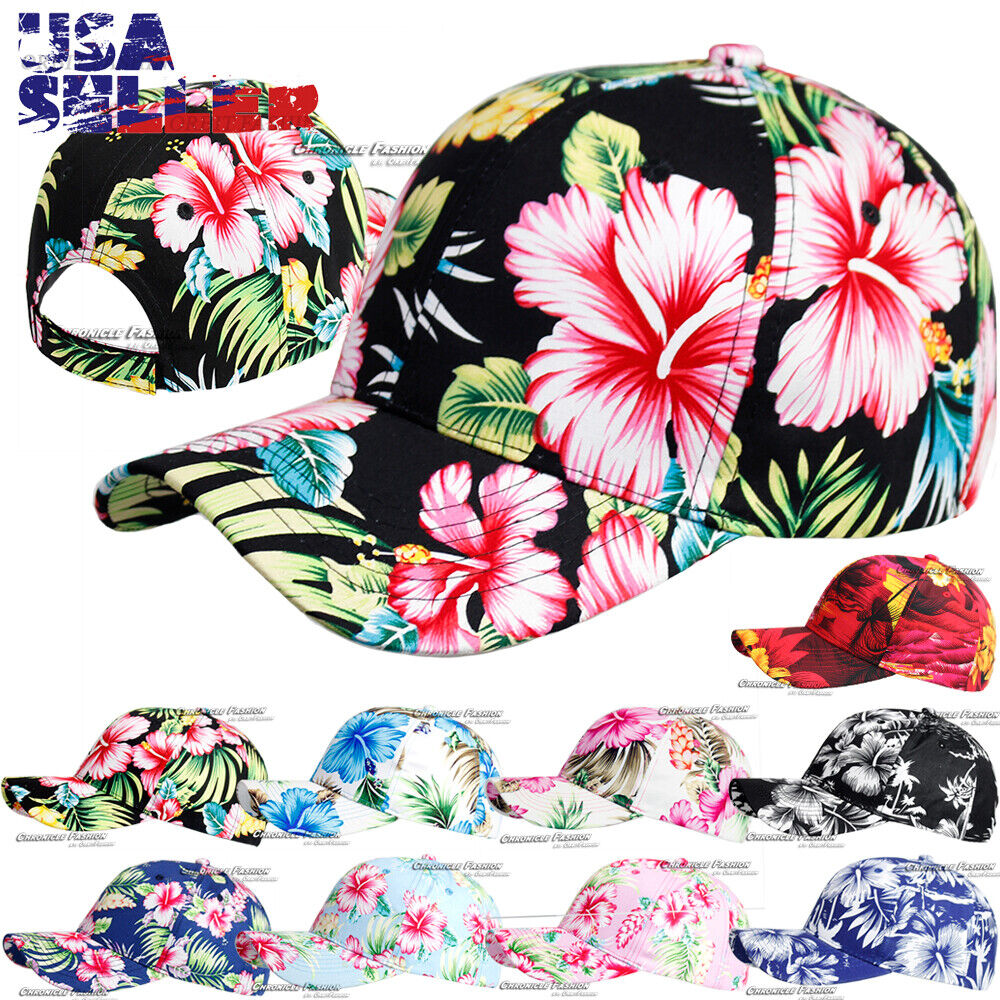 Hawaiian Snapback Baseball Cap Tropical Curved Bill