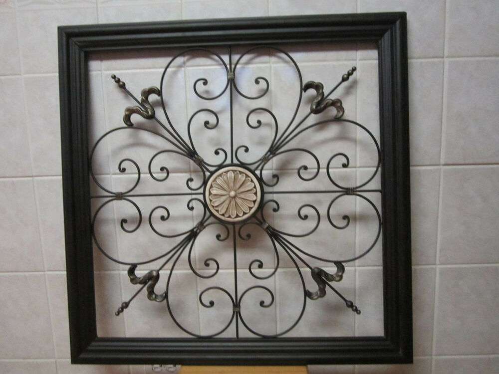 Large tuscan scroll wrought iron metal wall art plaque for Iron scroll wall art