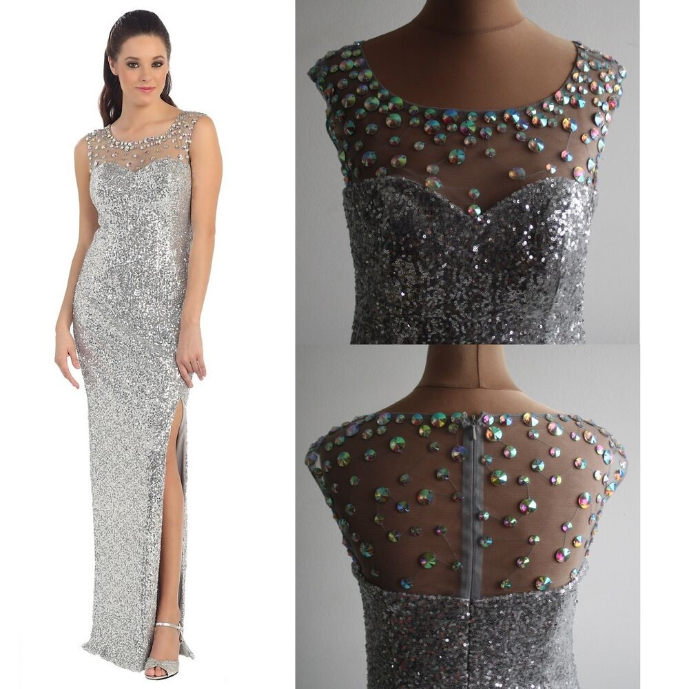 Abendkleid Ball Cocktail Brautjungfern Damen Kleid Pailletten Strass ...