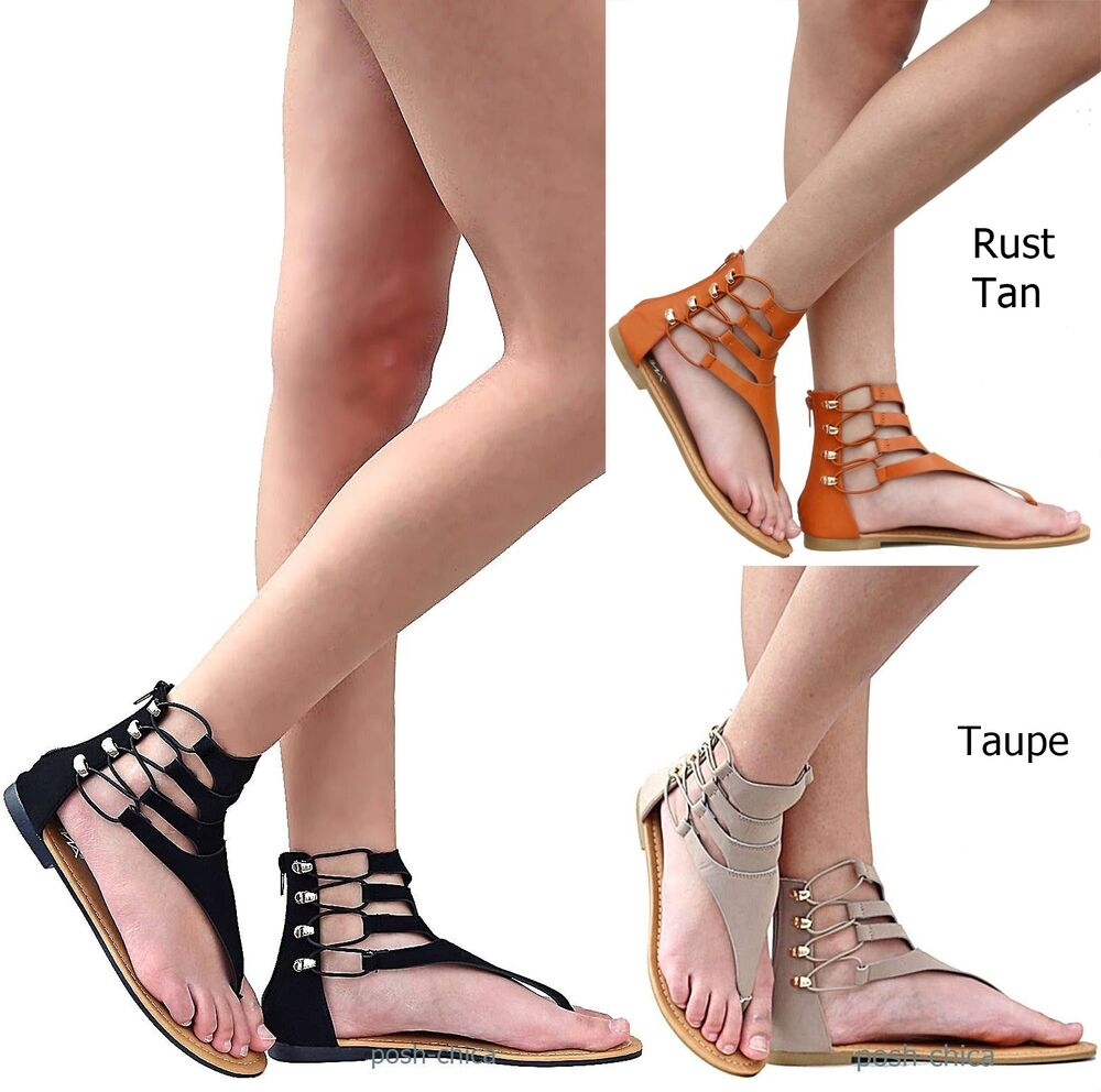 New Women AS1 Black Taupe Gladiator Strappy Thong Flat ...