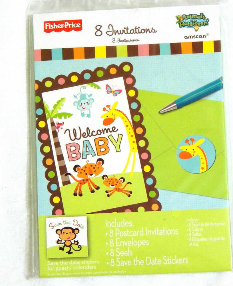 Newanimals Of The Rainforest 8 Paper Baby Shower Invitations Party