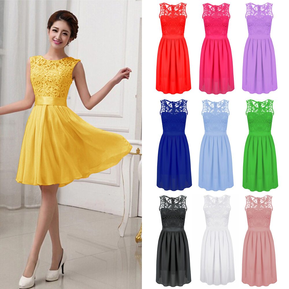 a2503f4f26 Details about Women Chiffon Lace Short Prom Party Cocktail Bridesmaid  Wedding Dress