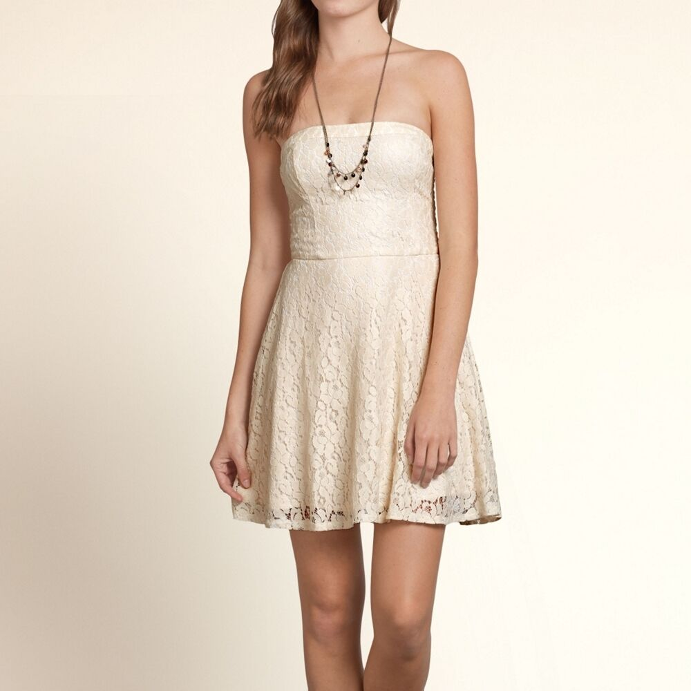 Hollister by Abercrombie Womens Summer strapless lace shimmer dress ...