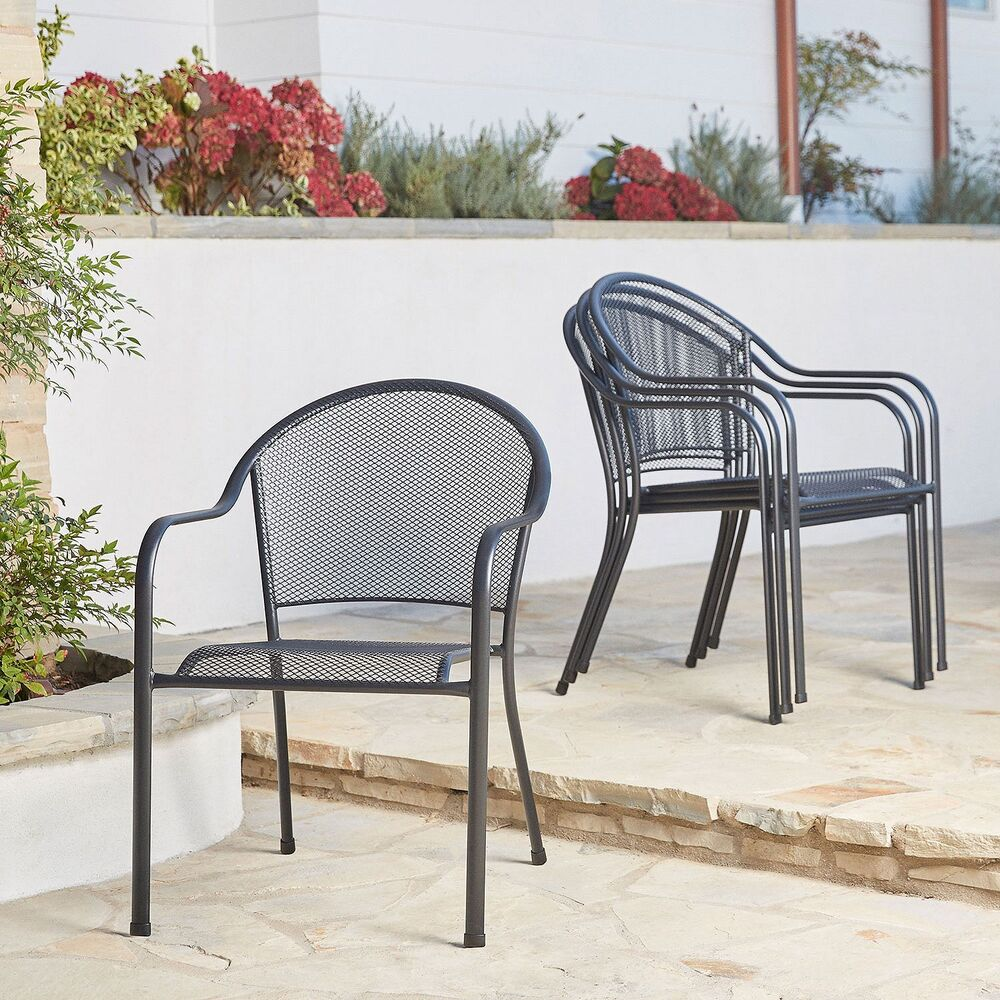 new set of 4 outdoor chairs metal bistro chairs black stackable mesh seating ebay. Black Bedroom Furniture Sets. Home Design Ideas