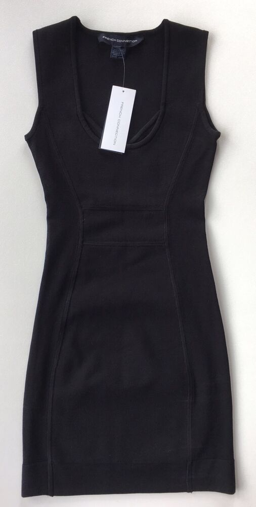 aad28781fe Details about NWT Women s French Connection Black T-Dani Crepe Racer  Bodycon Dress-Sz 2 ( 188)