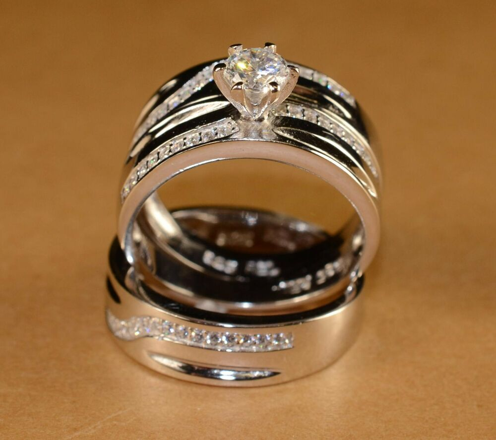 White Gold Finish Engagement Ring Multi Wedding Bands Set His And Hers L 8 M