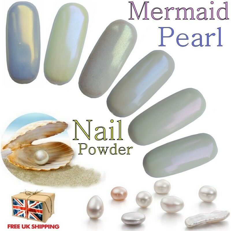 Mermaid Pigment Pearl Effect Nail Powder Chrome Shimmer Iridescent 6 ...