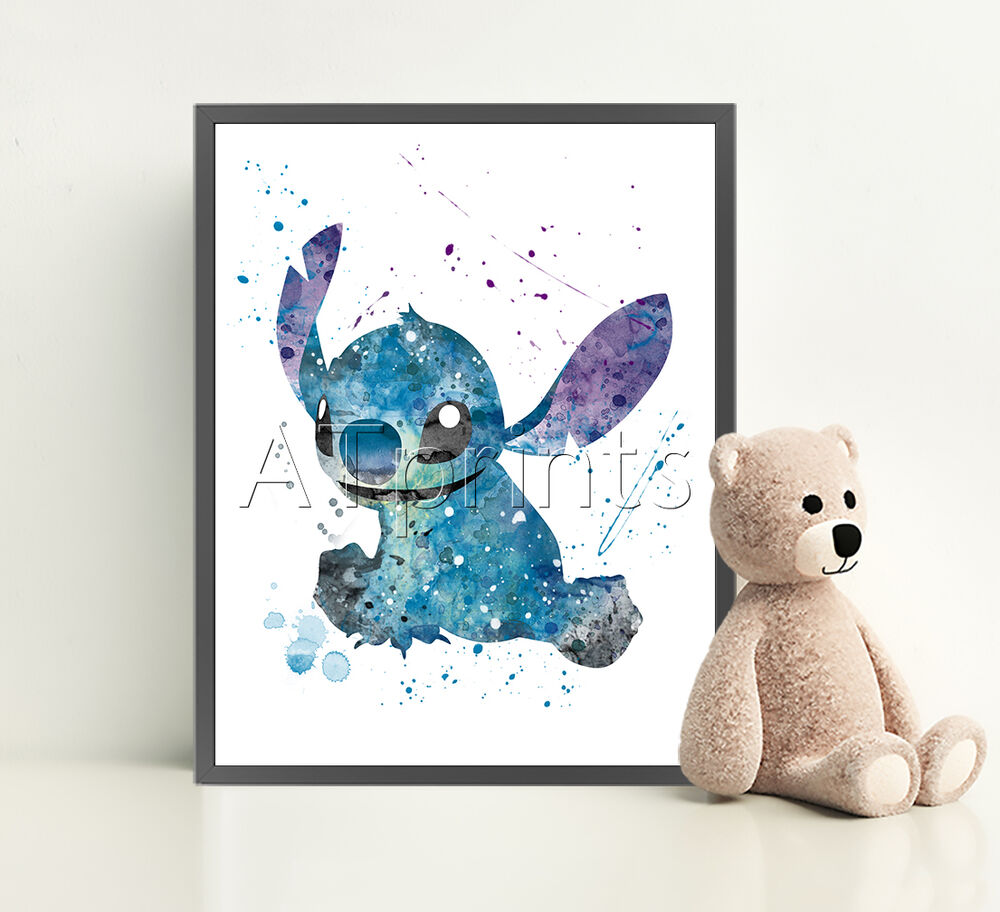 LILO AND STITCH Print Poster Disney Watercolour Framed Canvas Wall ...