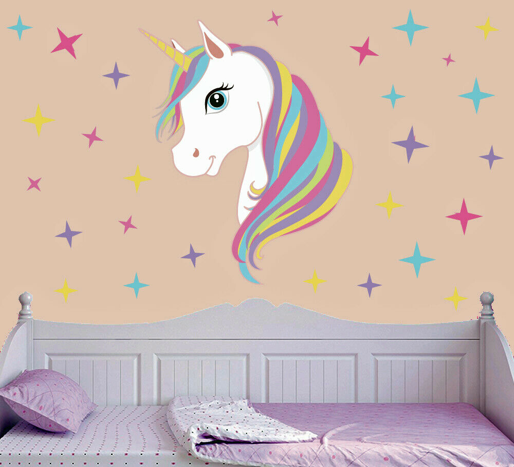 wall decals bedroom colourful unicorn amp wall vinyl stickers 13759