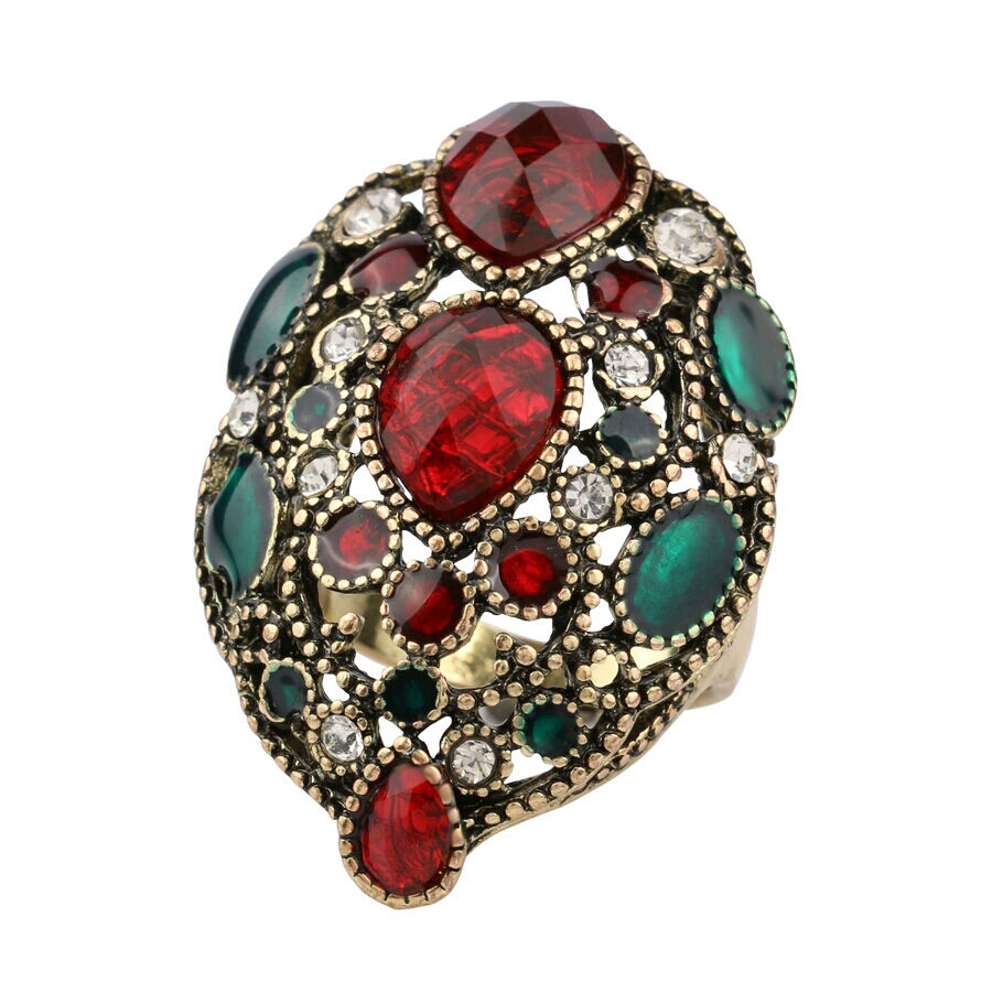 Tribal Ethnic Style Mix Rhinestones Clustered Green Red Women 39 S Statement Ring Ebay