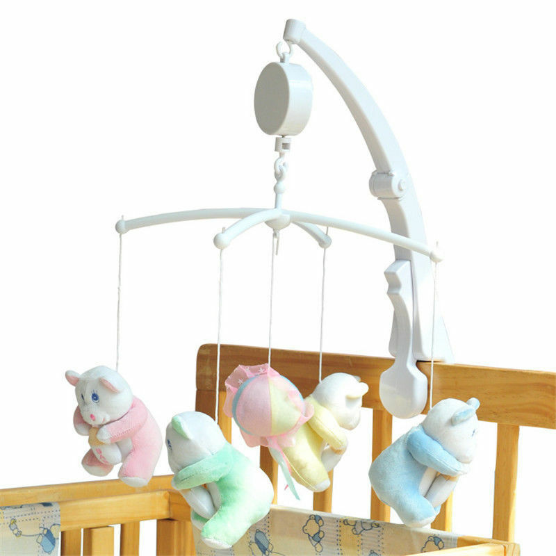 baby crib mobile bed bell toy holder arm bracket wind up cartoon music box ebay. Black Bedroom Furniture Sets. Home Design Ideas