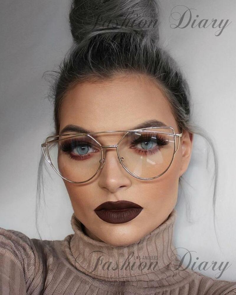 c42a8f58264 Details about CLEAR LENS OVERSIZED AVIATORS HOT FASHION BLOGGER TRENDY  GLASSES METAL BAR FRAME