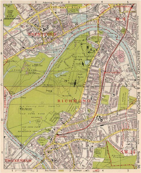 Sw London Brentford Kew Gardens Richmond Sheen Chiswick Bacon 1959