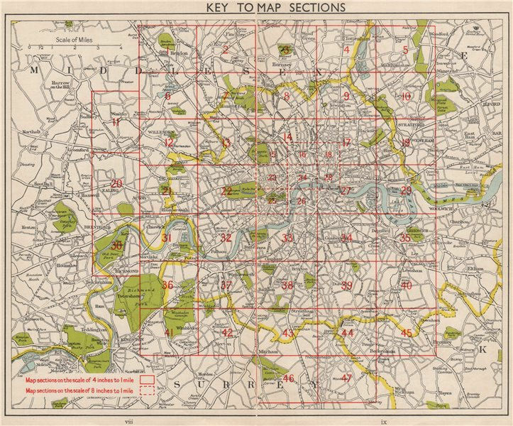 Sections Of London Map.London Index Map Roads Bacon 1959 Old Vintage Plan Chart Ebay