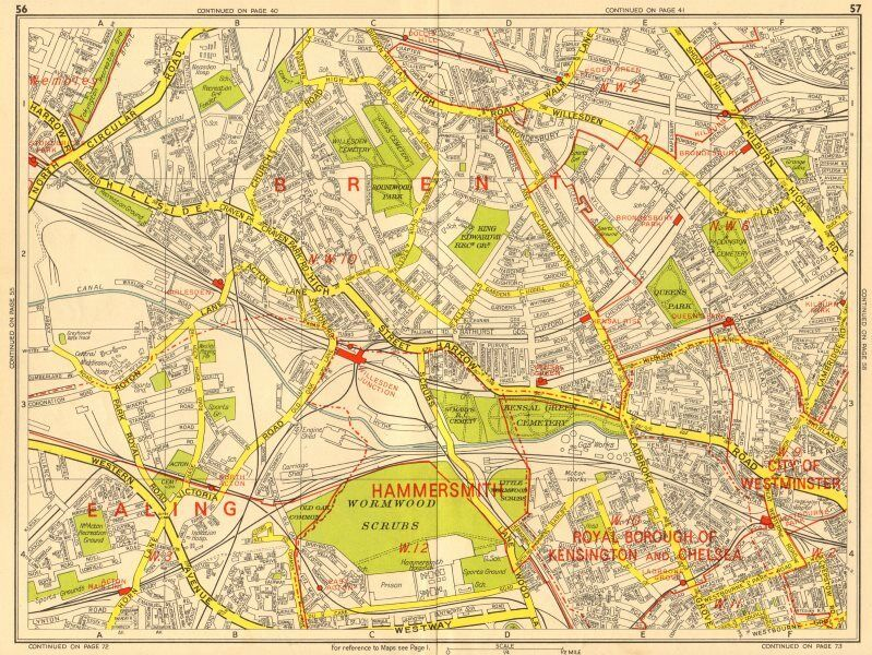 Sections Of London Map.London Nw Acton Willesden Queens Park North Kensington Geographers