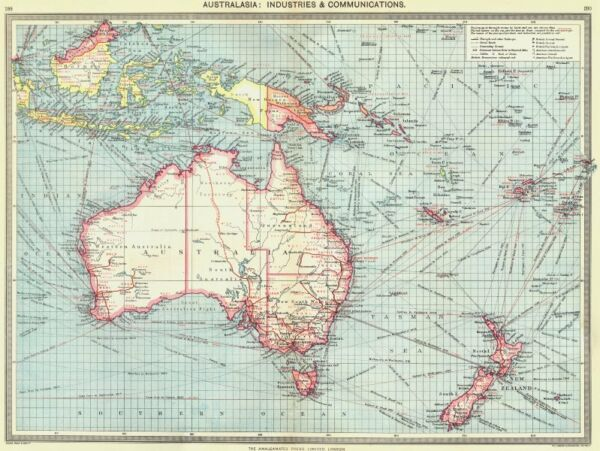 AUSTRALASIA. Australia. Industries and Communications 1907 old antique map