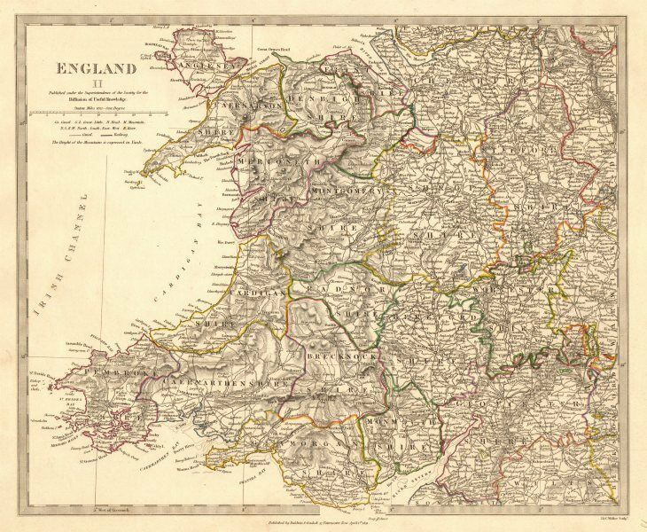 Map Of England Midlands.Wales England West Midlands Showing Counties Original Colour