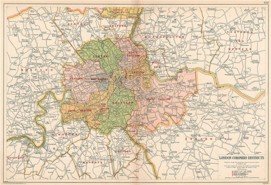 London Map Districts.London Coroners Districts Vintage Map Bacon 1927 Old Vintage Plan