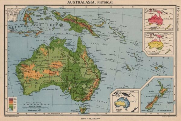 AUSTRALASIA. January & July temperature; Annual rainfall. BARTHOLOMEW 1944 map
