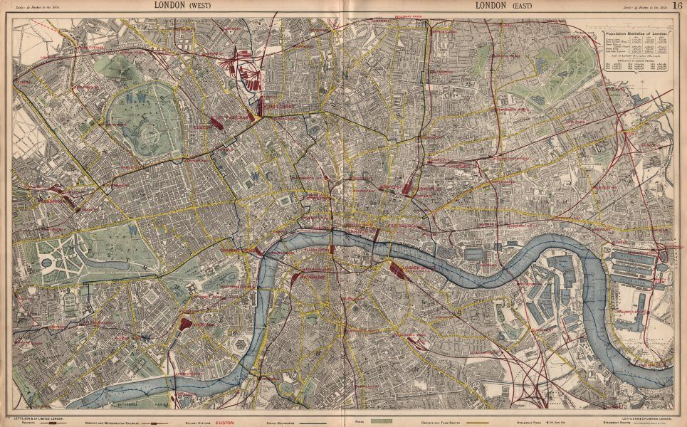 London Town Map.London Town City Plan Underground Railways Stations Bus Routes Letts 1889 Map Ebay