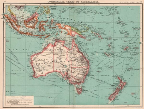 AUSTRALASIA COMMERCIAL. Steamer routes Telegraph cables Railways Canals 1901 map
