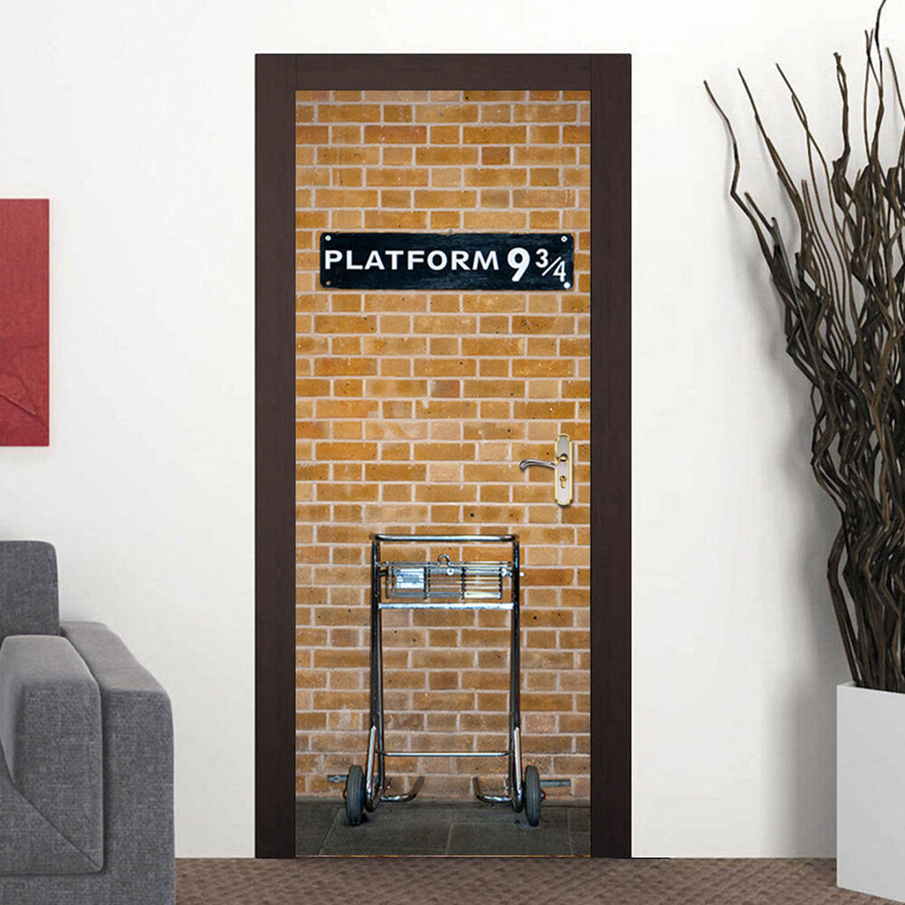 Harry 3d potter platform 9 3 4 door wall sticker wrap for Door mural stickers